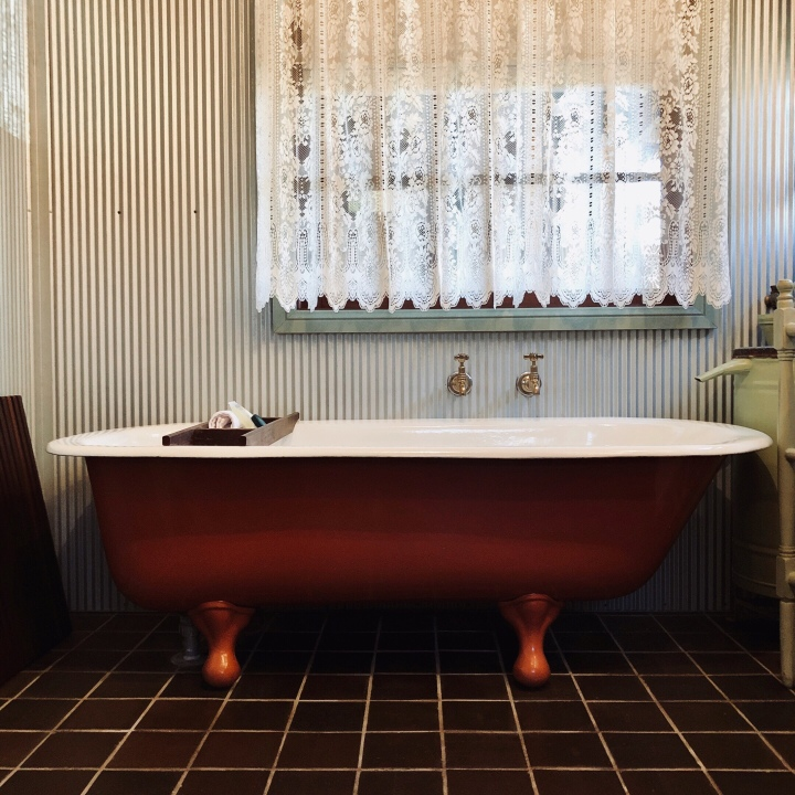 Bathtub in Settlers Cottage, Kangaroo Valley, New South Wales, Australia.
