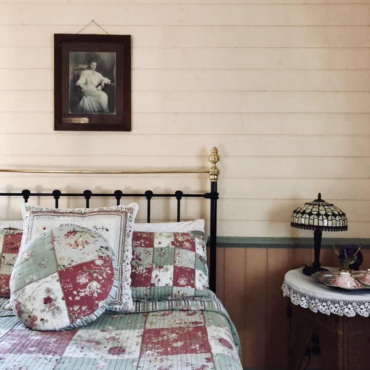 Bedroom in Settlers Cottage, Kangaroo Valley, New South Wales, Australia.
