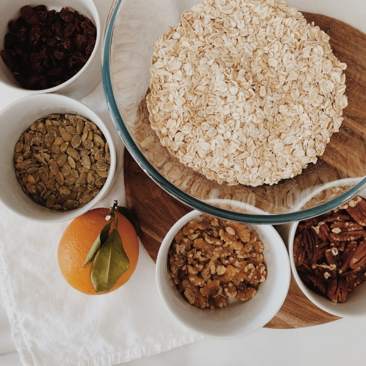 Ingredients for orange and cranberry granola.