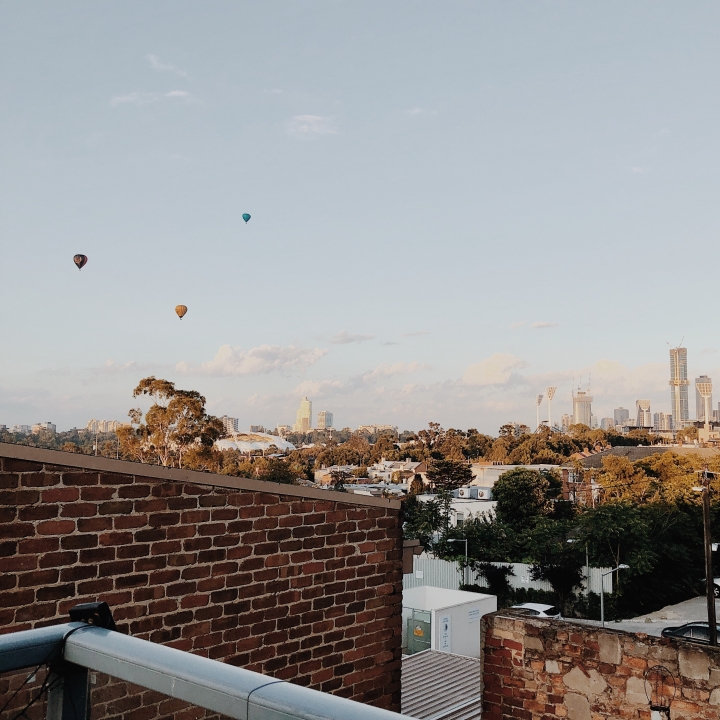 Looking from an apartment in Richmond towards the Melbourne CBD in Victoria, Australia.