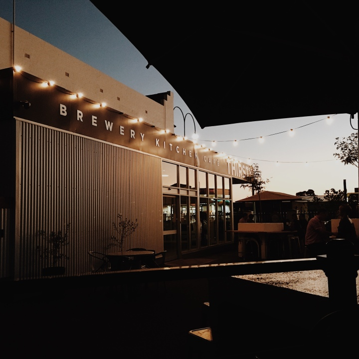 Thirsty Crow brewery in Wagga Wagga, New South Wales, Australia at sunset.