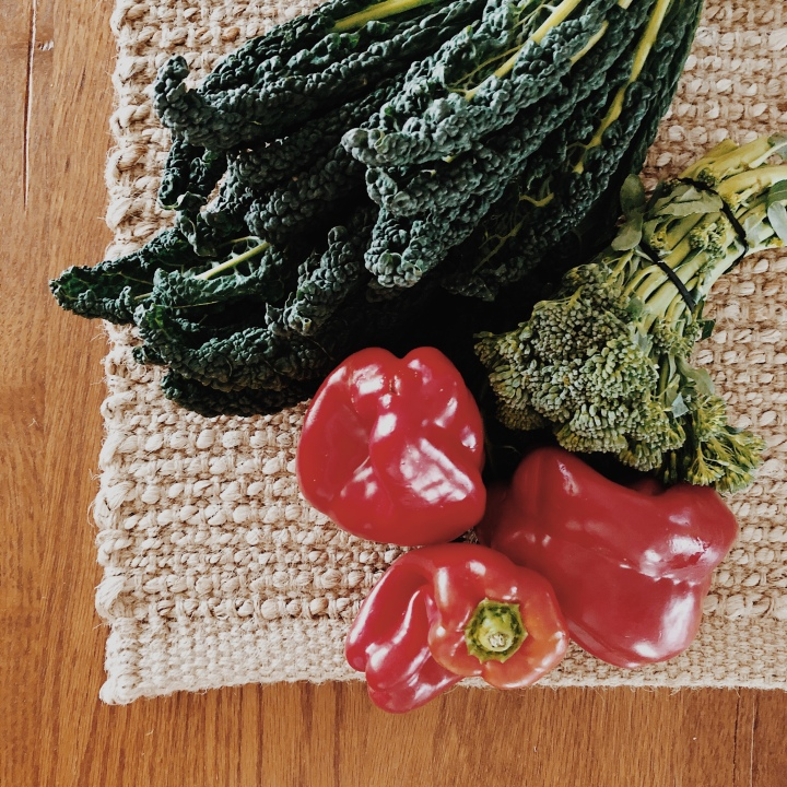 Fresh Tuscan kale, broccolini and capsicums.