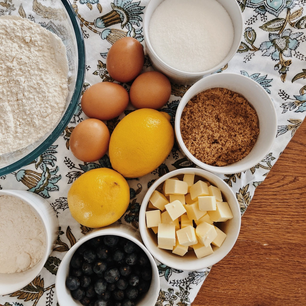 Ingredients for lemon and blueberry squares.