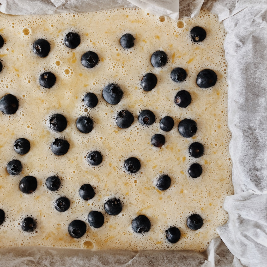 Lemon and blueberry square slice ready to go in the oven.