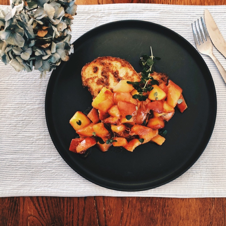 French toast with carameralised peaches and thyme