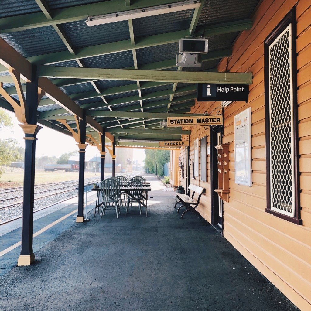The platform at the Coolamon train station in New South Wales, Australia.