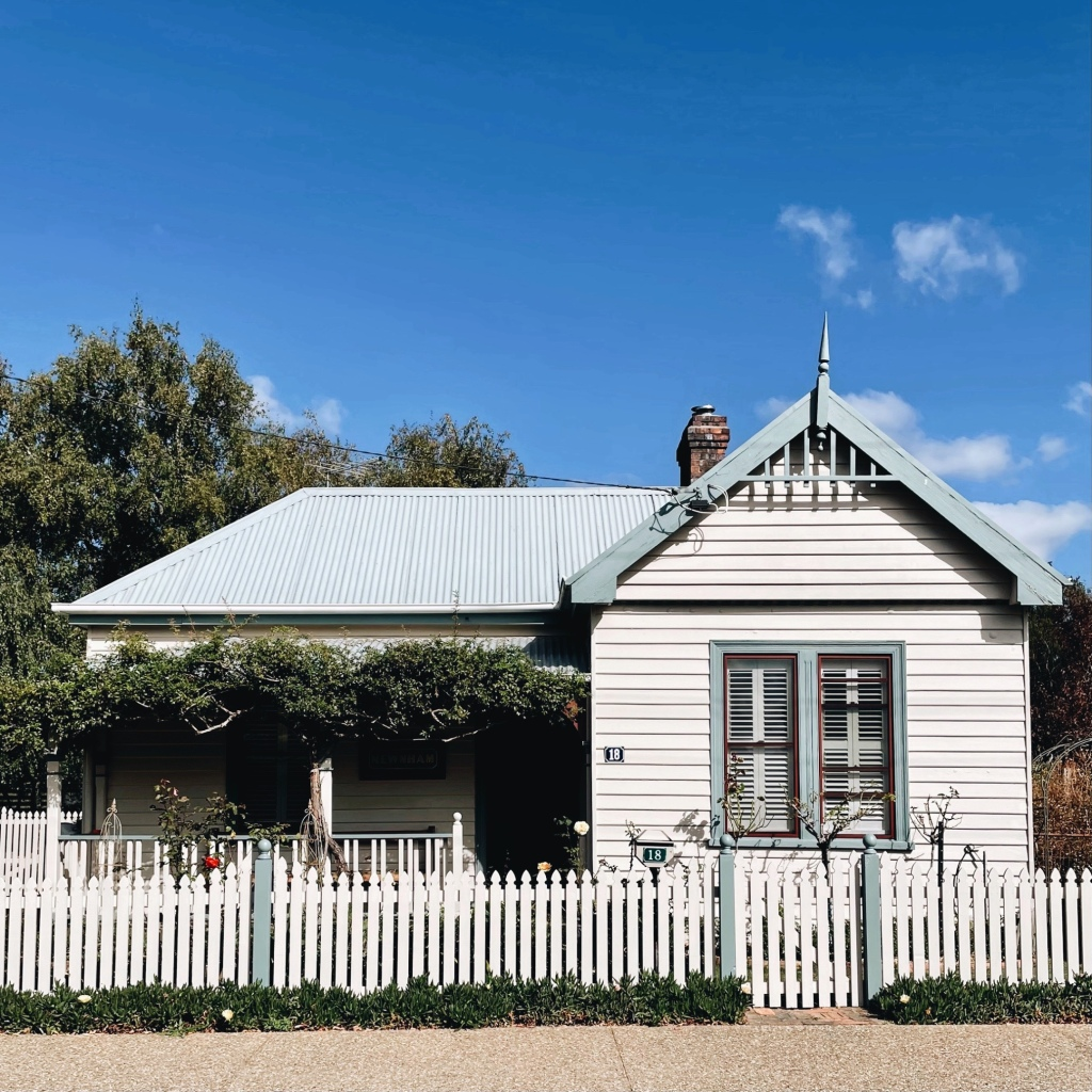White weatherboard cottage in Evandale, Tasmania, Australia