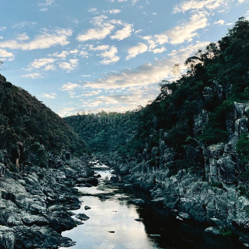Cataract Gorge, near Launceston, Tasmania, Australia at sunset.