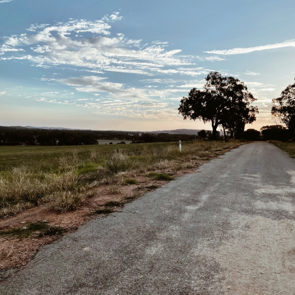A quiet road at sunset, flanked by with undulating countryside.