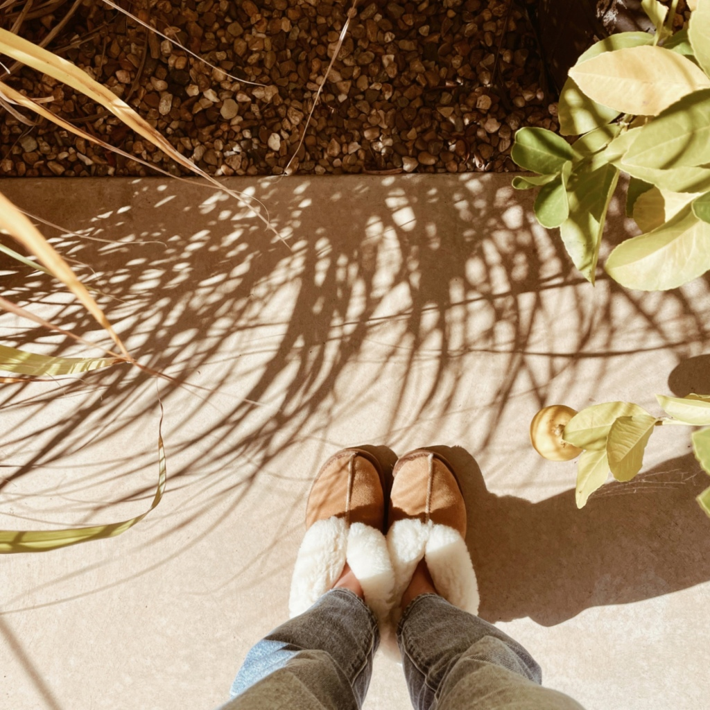 Looking down at a pair of feet in slippers, standing in a sun drenched garden.
