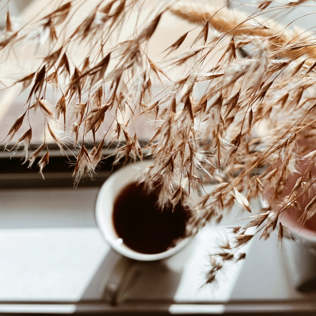 Looking down through dried grass to a black cup of tea.