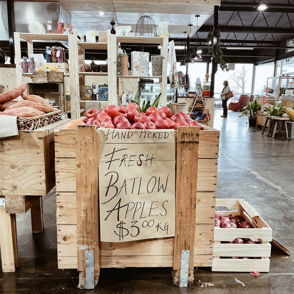 Apples for sale at the Pickled Parrot Providore in Khancoban, New South Wales, Australia.
