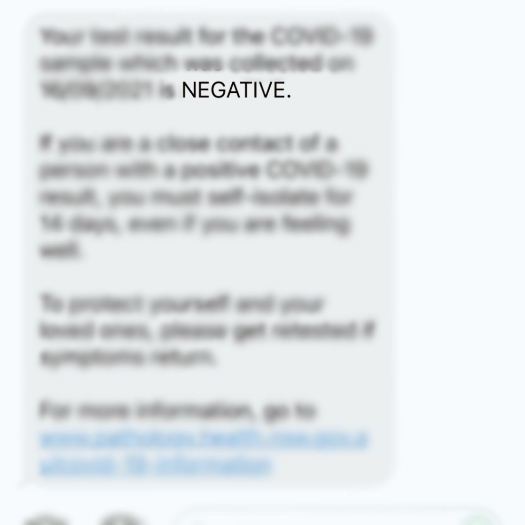 Text message showing negative COVID result.